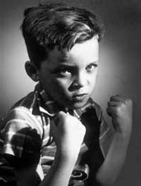 Boy with fists up