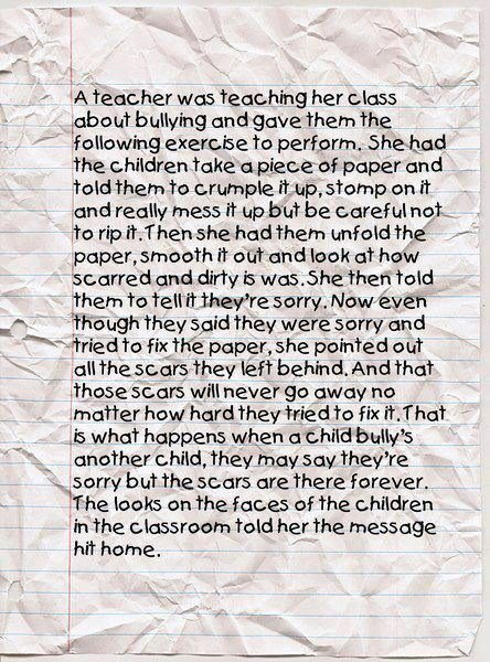 the crumpled piece of paper bullying stories